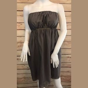 FEI Anthropologie Strapless Dress Taupe Gold Lace